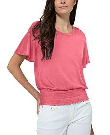 Flutter-Sleeve Smocked-Waist Top, Regular & Petite Sizes