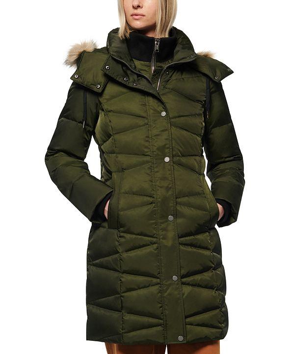 Marc New York Faux-Fur-Trim Hooded Down Puffer Coat