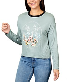 Juniors' Flowers Graphic Ringer T-Shirt