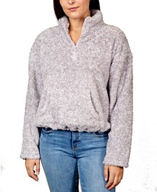 Juniors' Marled Fuzzy Quarter-Zip Top