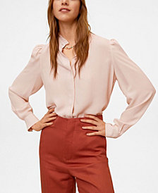 MANGO Women's Ruffled Neck Blouse