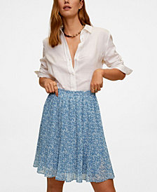 MANGO Women's Pleated Floral Skirt