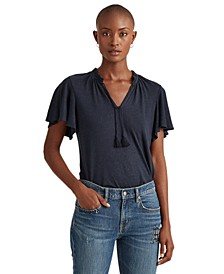 Linen Flutter-Sleeve Top