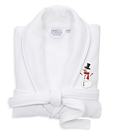Snowman Waffle Terry Embroidered Bathrobe with Satin Piped Trim
