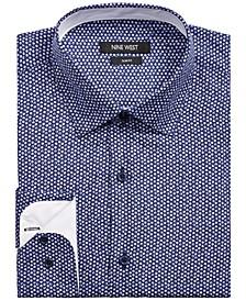 Men's Slim-Fit Performance Stretch Gem-Print Dress Shirt