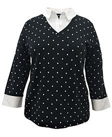 Plus Size Cotton Layered-Look Top, Created for Macy's