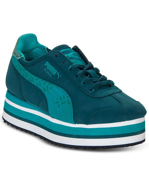 Puma Women s Roma Slim Stacked Casual Sneakers from Finish Line ... 1a0a1f400
