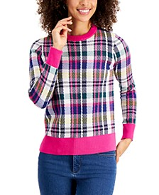 Contrast-Trim Plaid Sweater, Created for Macy's