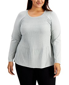 Plus Size Metallic Ribbed-Knit Sweater, Created for Macy's