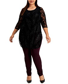 Plus Size Printed Burnout Tunic Top, Created for Macy's