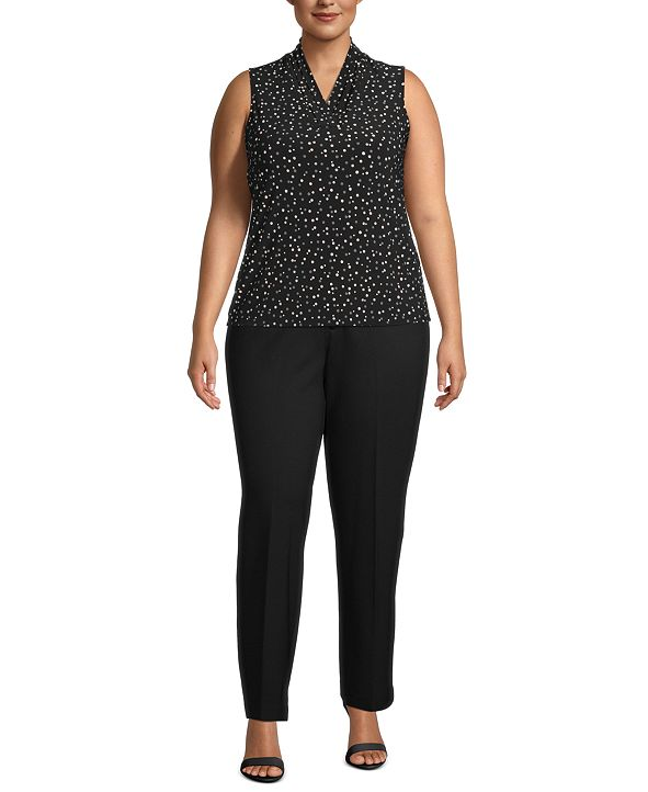 Anne Klein Plus Size Printed Pleat-Neck Top