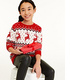 Big Girls Reindeer Sweater, Created for Macy's