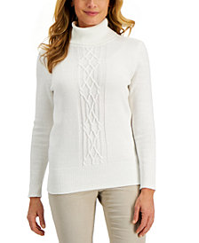 Karen Scott Cable-Front Turtleneck Sweater, Created for Macy's