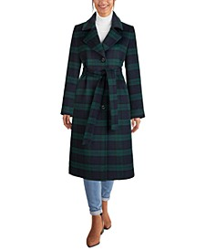 Belted Plaid Maxi Coat