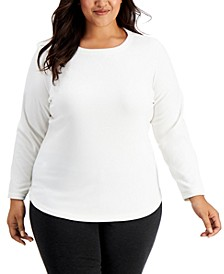 Plus Size Scoop-Neck Fleece Top, Created for Macy's