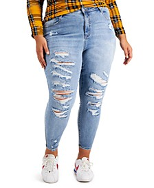 Trendy Plus Size High-Rise Destructed Skinny Jeans