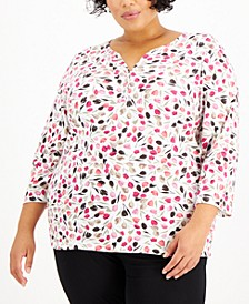 Plus Size 3/4-Sleeve Tulip-Print Henley, Created for Macy's