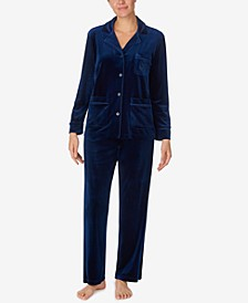Satin-Trim Velvet Pajama Set