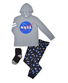 Big Boy's NASA Top and Jogger with Cosy Socks