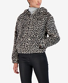 Junior's Reversible Leopard Faux Fur Hooded Bomber