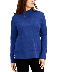 Cotton Mock-Neck Button-Hem Top, Created for Macy's