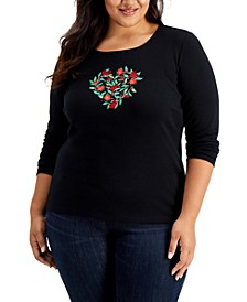 Plus Size Embellished Holiday Cotton Top, Created for Macy's