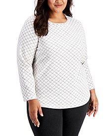 Plus Size Printed Fleece Top, Created for Macy's