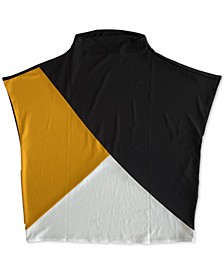 Plus Size Colorblocked Dropped-Shoulder Crop Top, Created for Macy's