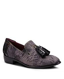 Women's Klasik-Fronds Metallic Print Loafers