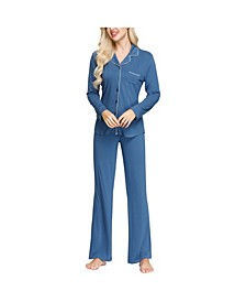 Women's Notch Collar Pajama Top and Pant Set