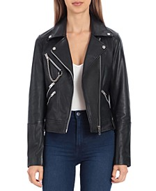 Leather Hardware-Trimmed Moto Jacket