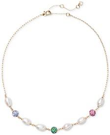 "Gold-Tone Multicolor Pavé Fireball & Imitation Pearl Collar Necklace, 17"" + 3"" extender"