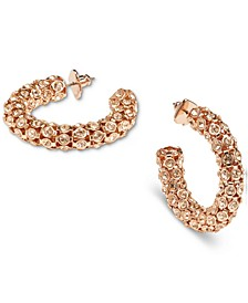 Small Stone-Studded Hoop Earrings, 0.9""