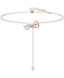 "Two-Tone Crystal Bow Adjustable 11-3/4"" Lariat Necklace"