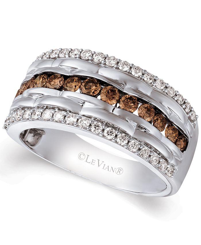 Le Vian - Men's Diamond Multi-Row Ring (1-1/3 ct. t.w.) in 14k White Gold
