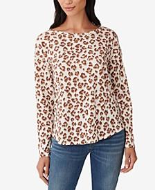 Leopard-Print Easy Long-Sleeved Top