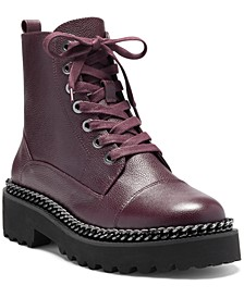 Women's Mindinta Lace-Up Lug Sole Combat Booties