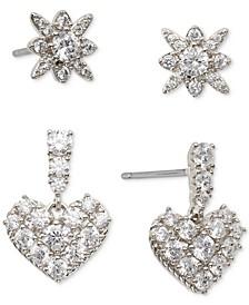2-Pc. Set Cubic Zirconia Star & Heart Stud Earrings, Created for Macy's