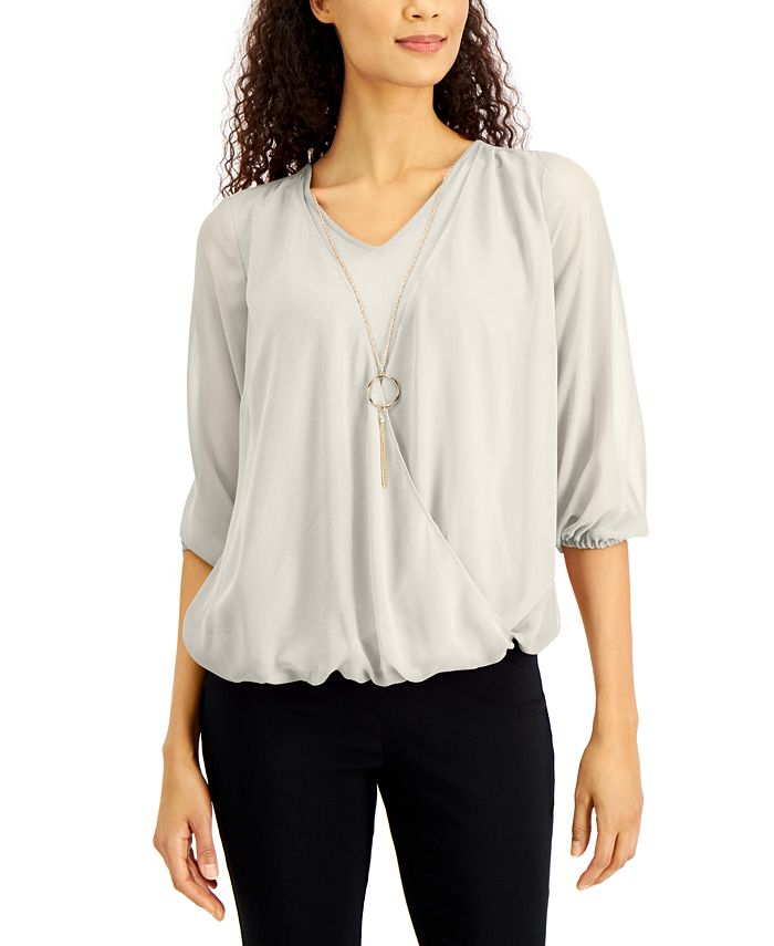 JM Collection - Three-Quarter-Sleeve Necklace Top