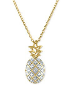 "Diamond Accent Pineapple Pendant Necklace in 14k Gold-Plated Sterling Silver, 16"" + 2"" extender"