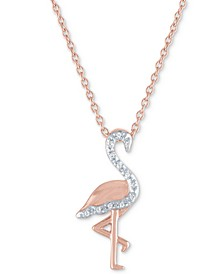 "Diamond Accent Flamingo Pendant Necklace in 14k Rose Gold-Plated Sterling Silver, 16"" + 2"" extender"