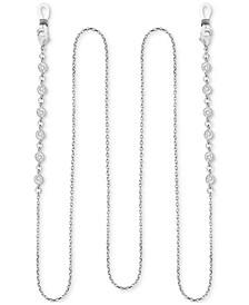 "Cubic Zirconia Cable Link 25"" Glasses or Face Mask Chain in Fine Silver or Gold Plate"
