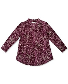 V-Neck Printed Three-Quarter-Sleeve Top, Created for Macy's