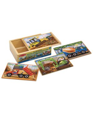 Melissa and Doug Kids Puzzle, Construction Vehicles Jigsaw Puzzles in a Box 1095835