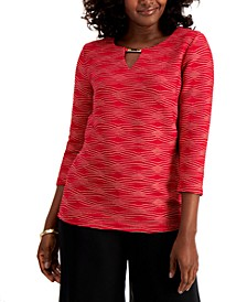 Plus Size Jacquard Keyhole Top, Created for Macy's
