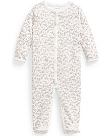 Baby Girls Floral Jersey Footed Coverall