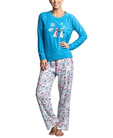 Ribbed Stretch Fleece Penguins Pajama Set
