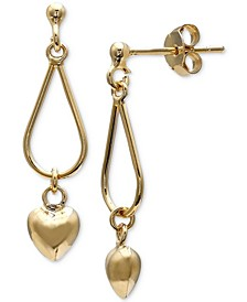 Heart Dangle Drop Earrings in 18k Gold-Plated Sterling Silver, Created for Macy's