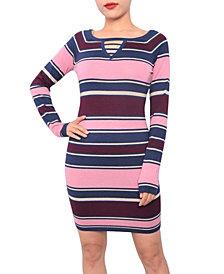 Planet Gold Juniors' Keyhole Bodycon Sweater Dress
