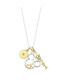 """Two-Tone Mickey Mouse """"2021"""" Crystal Pendant Necklace in Fine Silver Plate"""